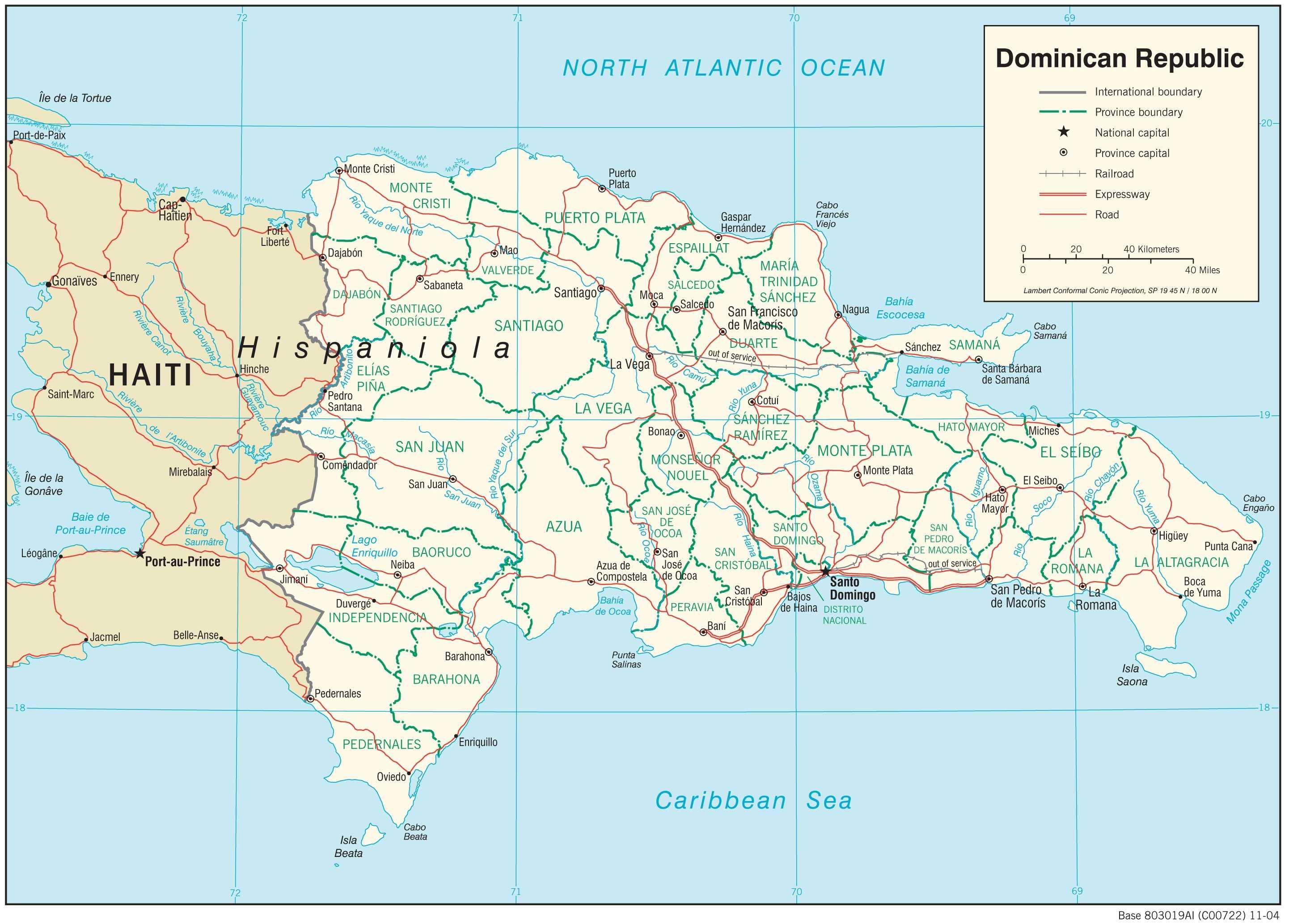 Mapa transportowa Dominikany