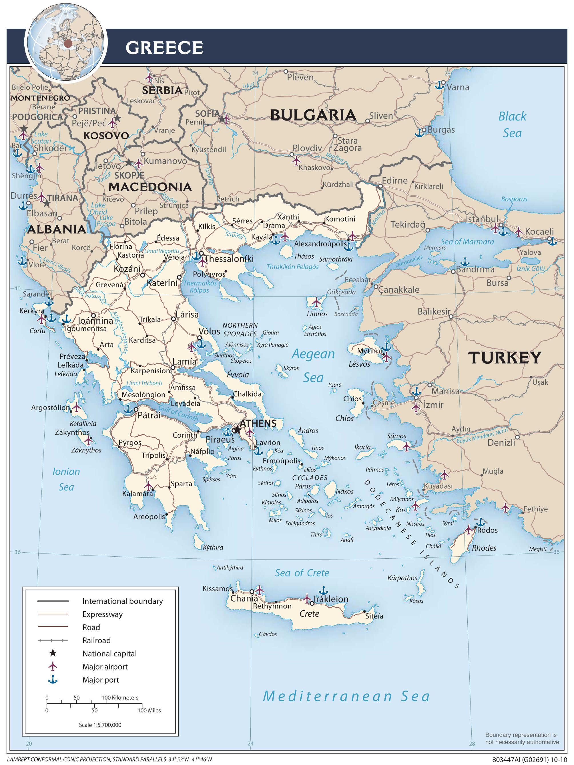 Mapa transportowa Grecji