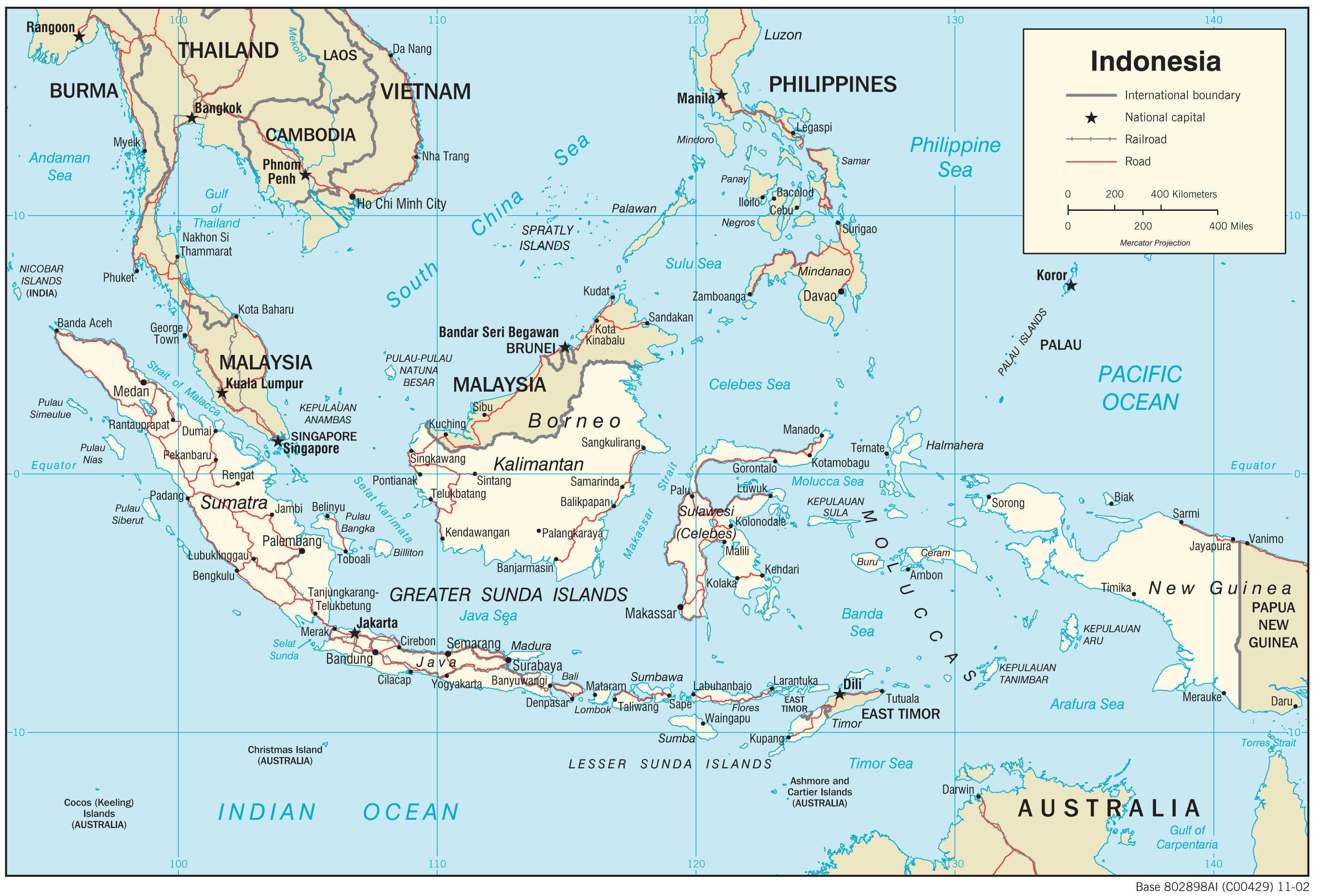 Mapa transportowa Indonezji