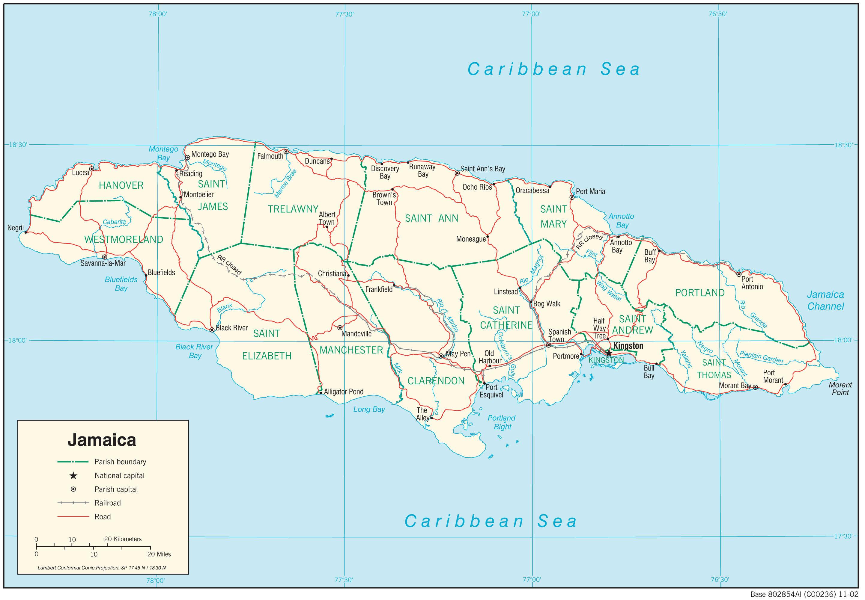 Mapa transportowa Jamajki