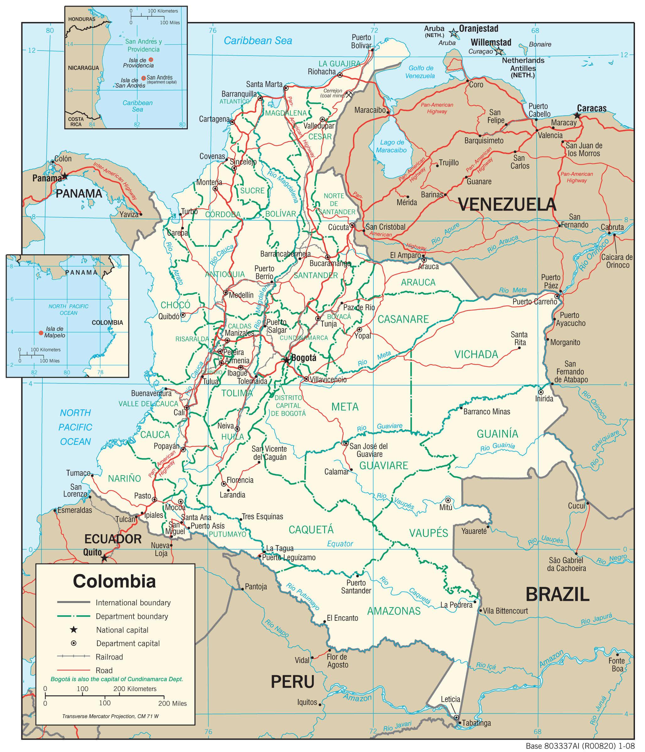 Mapa transportowa Kolumbii