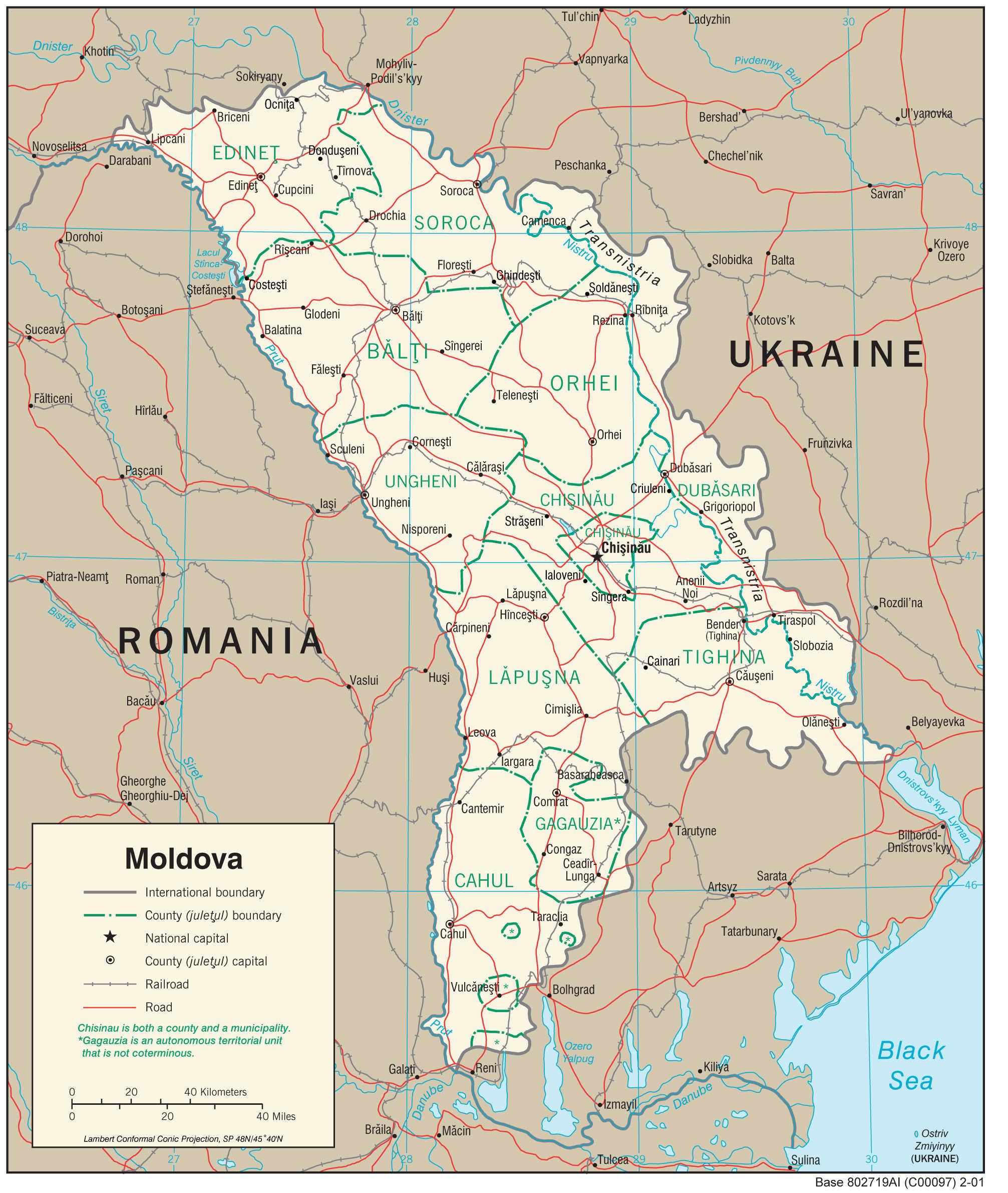 Mapa transportowa Mołdawii