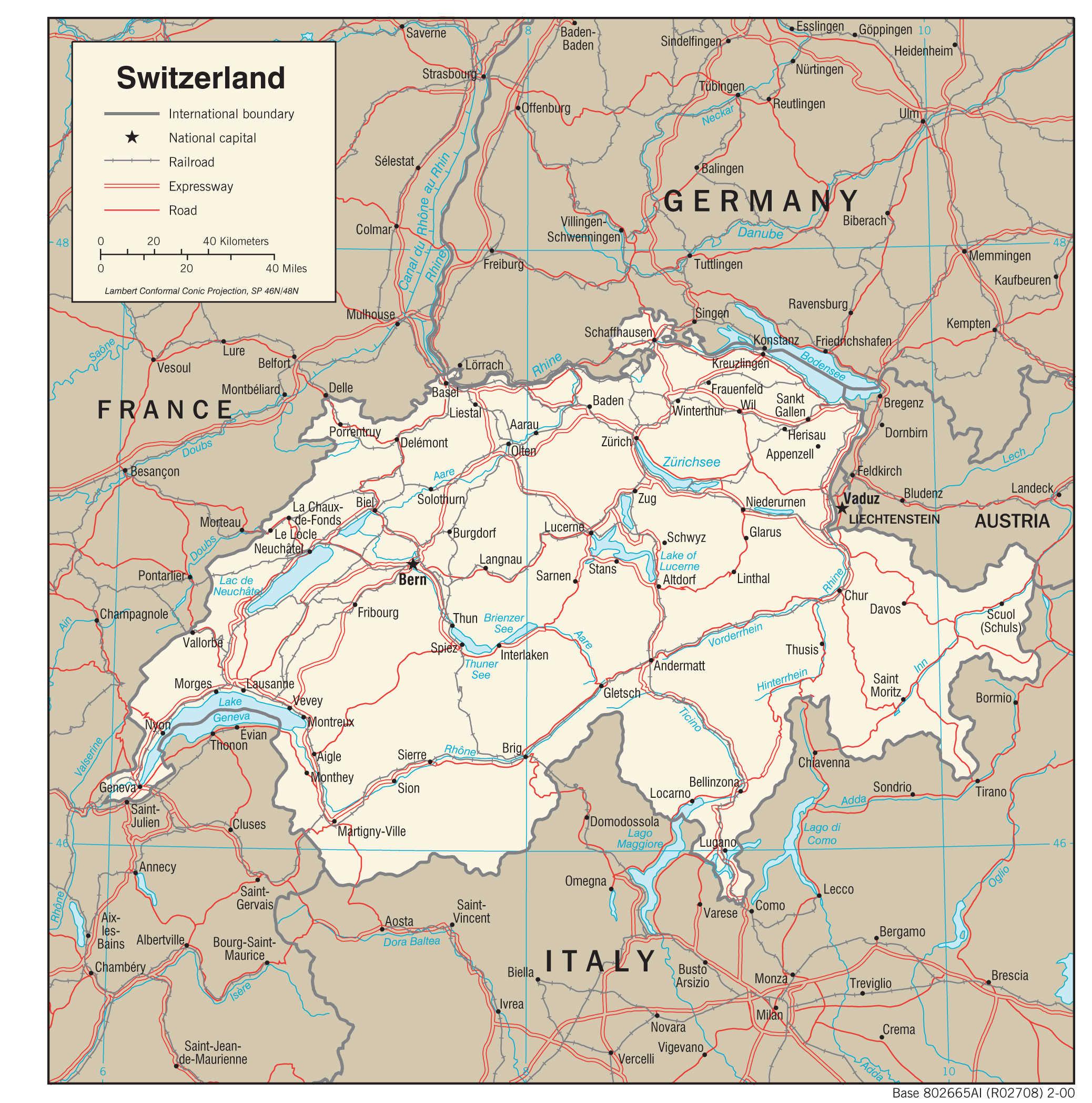 Mapa transportowa Szwajcarii
