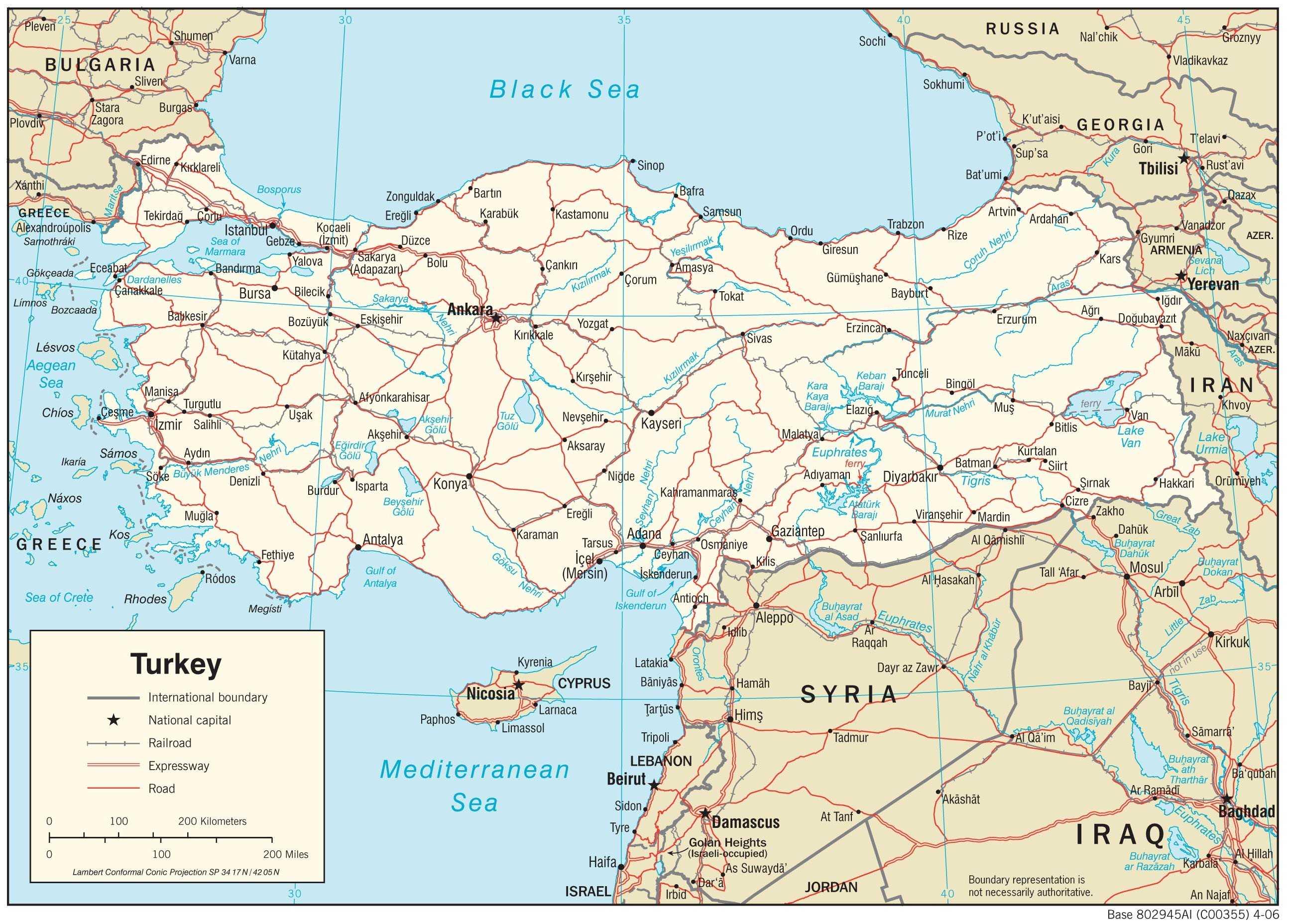 Mapa transportowa Turcji