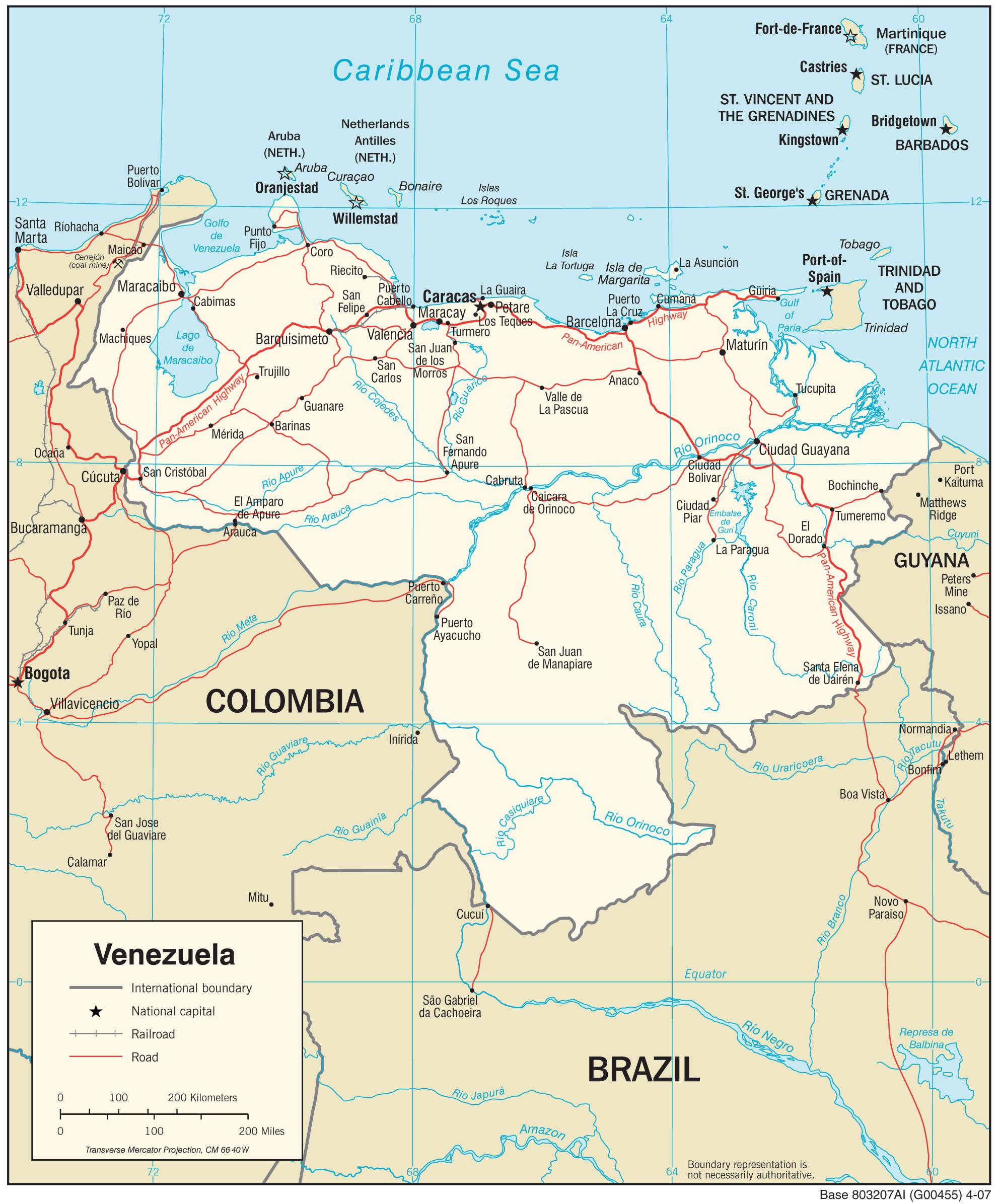 Mapa transportowa Wenezueli