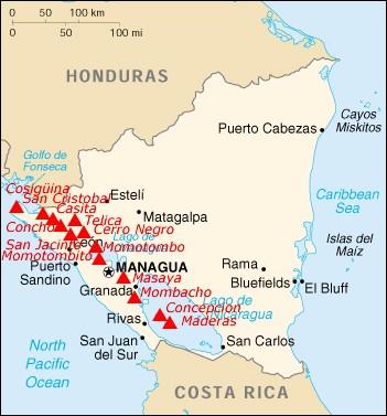 Mapa wulkanów w Nikaragui