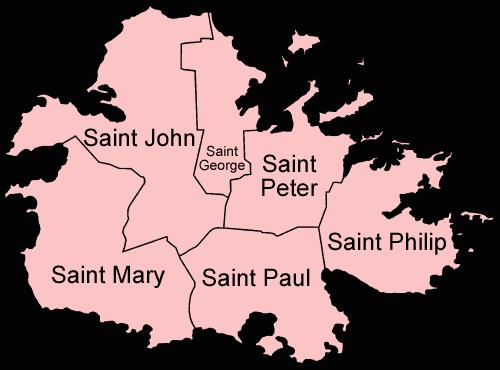 Mapa administracyjna Antigui