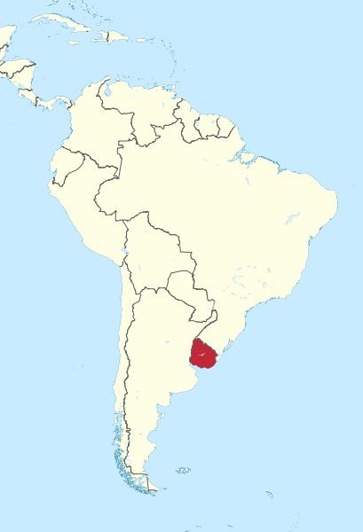 Położenie Urugwaju na mapie Ameryki Południowej