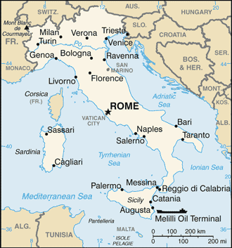 Położenie Watykanu na mapie Włoch